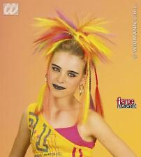 Neon Multicoloured Spikey Wig With Plaits Braided Hair Rocker Punk Fancy Dress