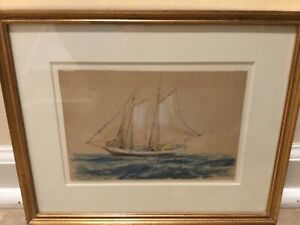 Sailing Schooner Crayon Drawing by Reynolds Beal The Old Print Shop Label