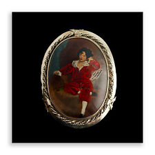ANTIQUE Silver Brooch With Painted Miniature C1920 Vintage CURIO Paintings