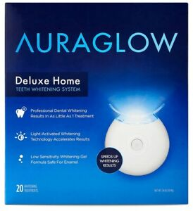 AURAGLOW Deluxe Home Teeth Whitening System, 20 Treatments (MSRP $59.99)