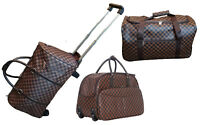 Designer Style Weekend Travel Bag Wheel Trolley Brown Check Holdall Holiday Case