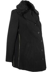 Umstands Mantel Damen Winter Jacke schwarz S M L mit Kragen neu 363