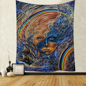 Abstract Bohemian Tapestry Wall Hanging Landscape Cloth Painting Bedroom Decor