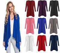 Ladies Hanky Hem Women Jersey Plus Size Long Sleeve Top Waterfall Open Cardigan