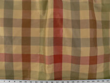 Drapery Upholstery Fabric Designer Faux Silk Plaid  - Tan Multi