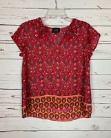 W5 Anthropologie Women's M Medium Red Floral Short Sleeve Cute Top Blouse Shirt