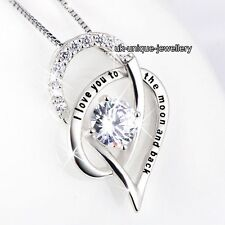 I Love You Silver Crystal Necklace Valentine Xmas Gifts For Her Girlfriend Women