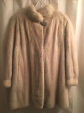 Real MINK Shiny FEMALE Cream PLATINUM BLOND White FUR Soft Nice Coat JACKET L XL