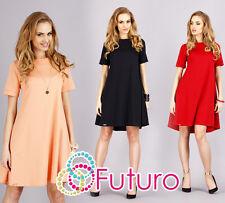 Classic & Elegant Women's Dress Crew Neck Tunic Style Sizes 8 -14 FA236A