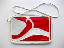 Vintage 80s red white snake clutch bag purse