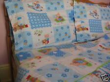 Kids Cotton Twin Size Bear& Horse Duvet Cover Bedding Set Blue Floral White