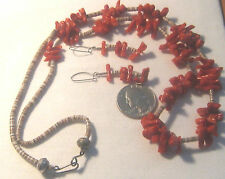 Vintage Striking Red Coral Heishi Shell and Bench Beads Necklace & Earrings Set