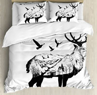 Deer Duvet Cover Set with Pillow Shams Mountain and Cottage Print