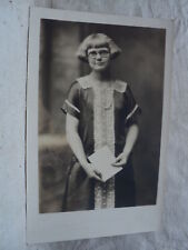 Girl in old Fasioned Christmas outfit early 1900's RPPC Postcard