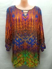 ROCKMANS RETRO HIPPY MULTI COLOURED SMART CASUAL TOP SIZE 12