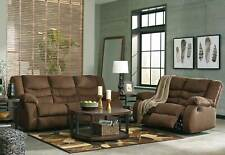 Modern Living Room Couch Brown Fabric 2 pieces Reclining Sofa Loveseat Set IF24