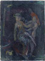 """Avantgarde Öl Leinwand """"Zwei Damen und ein Mops"""" 80 x 60 cm"""