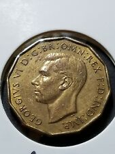 1937 GREAT BRITAIN, GEORGE VI, THREE PENCE, PROOFLIKE BRASS COIN, KM849