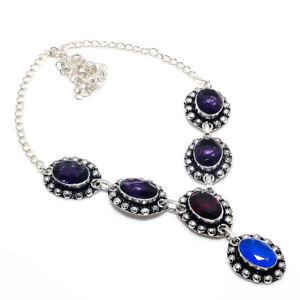 "Amethyst Handmade Ethnic Style Jewelry Necklace 18"" K101"