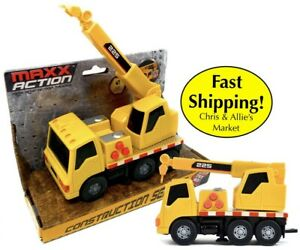 Kid's Crane Truck Construction Vehicle Toy: Moving Parts Sounds Lights Rev Motor