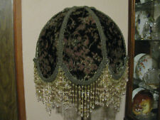 "Victorian French Medium Lamp Shade ""Olivia"" Burnout Velvet 5"" Bead Fringe  Look!"