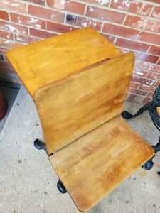 Antique Child's School Desk Oak Wood And Black Cast Iron Chicago #3