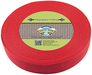 Country Brook Design® 1 1/2 Inch Red Heavy Polypro Webbing, 25 Yards