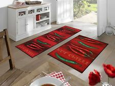 wash+dry Hot Chili waschbarer Küchenteppich rutschfest pflegeleicht Fußmatte