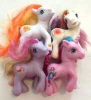 4PC My Little Pony MLP lot Hasbro all different ponies 2002 2004 2008 A