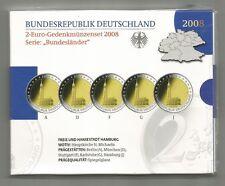2-Euro-Gedenkmünzen Set 2008 , Hamburg - Spiegelglanz / PP - A D F G J - NEU