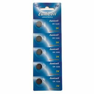 5 x CR1220 3V button/coin/cell batteries Eunicell aka R1220, DL1220 *UK seller*