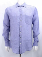 Rodd & Gunn Linen Shirt Sports Fit Blue Striped button up long sleeve Large