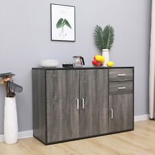Grey Sideboard Storage Cupboard Display Cabinet Matt Sides With Drawers & Doors