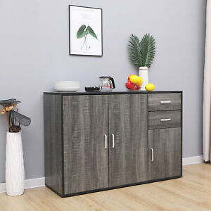 Grey Sideboard Storage Cupboard Display Cabinet Matt Sides With Drawers & Doors