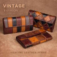 Women Vintage Genuine Leather Long Bifold Wallet Money Card Holder Clutch Purse