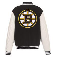 Nhl Boston Bruins Reversible Fleece Jacket Pvc Sleeves Embroidered Logos Jhd