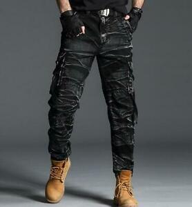 Men Retro Camo Military Amry Pants Outdoor Overall Casual Multi Pockets Trousers
