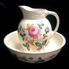 Antique Hand Painted Roses Pitcher And Bowl Set