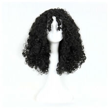 Sexy Women Medium Black Natural Curly Hair Synthetic Cosplay Costume  Full Wigs