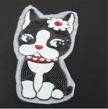 DOG PUPPY SEW ON SEQUINS APPLIQUÉ PATCH MOTIF SPARKLY CUSTOMISE