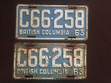 1963 British Columbia License Plates Matched Pair C66-258 Vintage Set