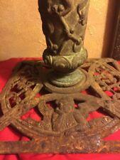 Antique Cast Iron Ornate Angel Cherubs Christmas Tree Trunk Stand Heavy Fancy