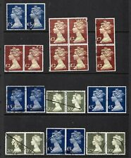 GREAT  BRITAIN: QEII era high value machins pairs & blocks to 5 £- see scan
