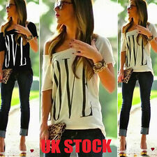 UK Womens Summer Letter Tops  Loose One Shoulder Casual Shirts T-shirt Blouse