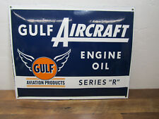 Vintage Style GULF 16.5 x 12.5 Porcelain Enamel Aviation Engine Oil Serie R Sign