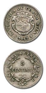 Costa Rica 5 Centimos Overstruck on 2c 1942  XF KM 178
