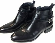 Zara Man Black leather buckled ankle boots Size 42 EU