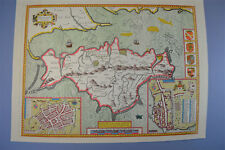 Vintage sheet map of The Isle of Wight Wight Island circa.1600's