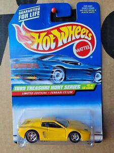 Hot Wheels 1999 FERRARI F512M [YELLOW] TREASURE HUNT NEAR MINT VHTF CARD GOOD