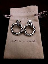 David Yurman Cable Sterling Silver 0.23ct Round Diamond Drop/dangle Earrings